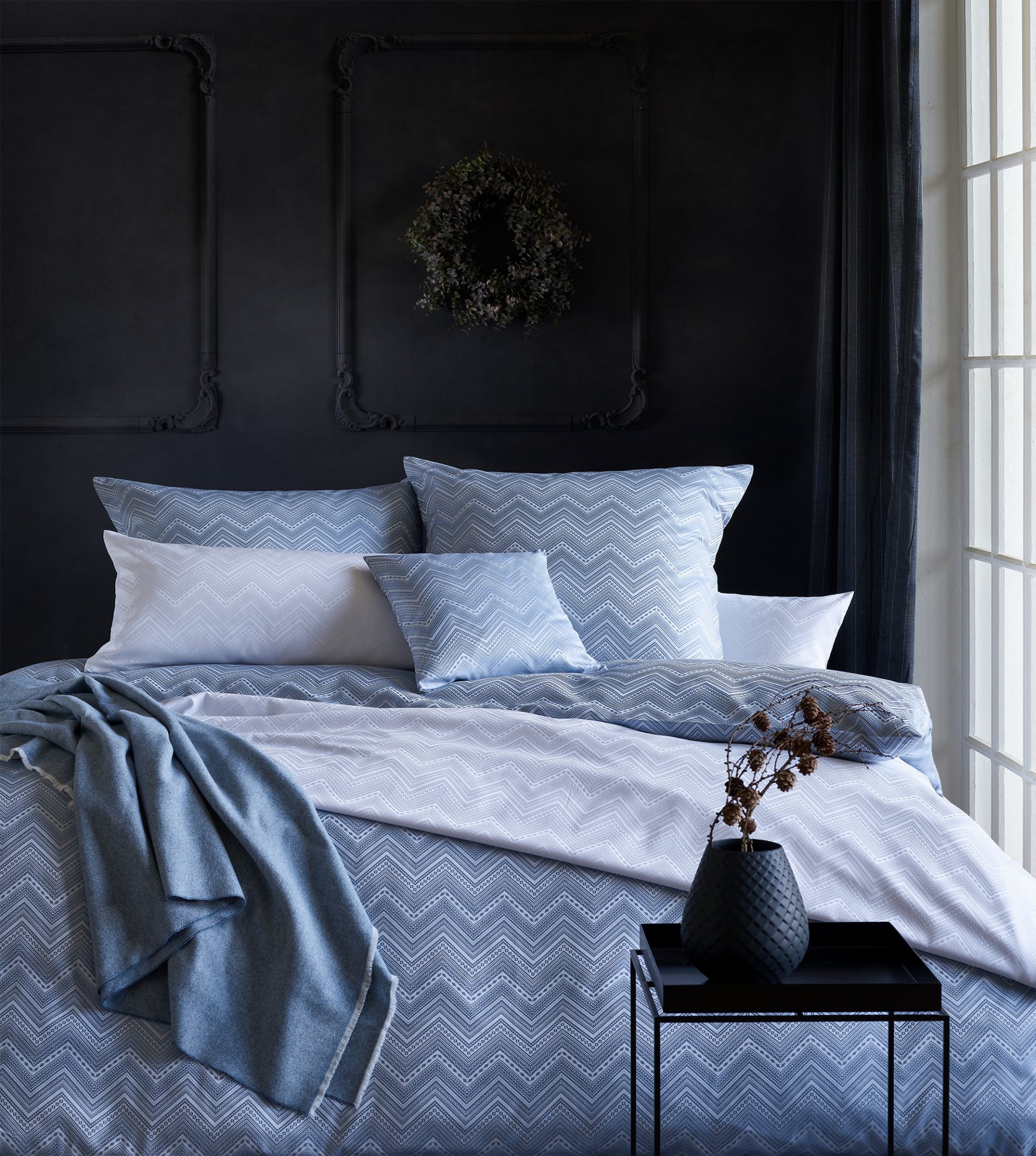 Luxusní damaškové povlečení TILDA - modrá
