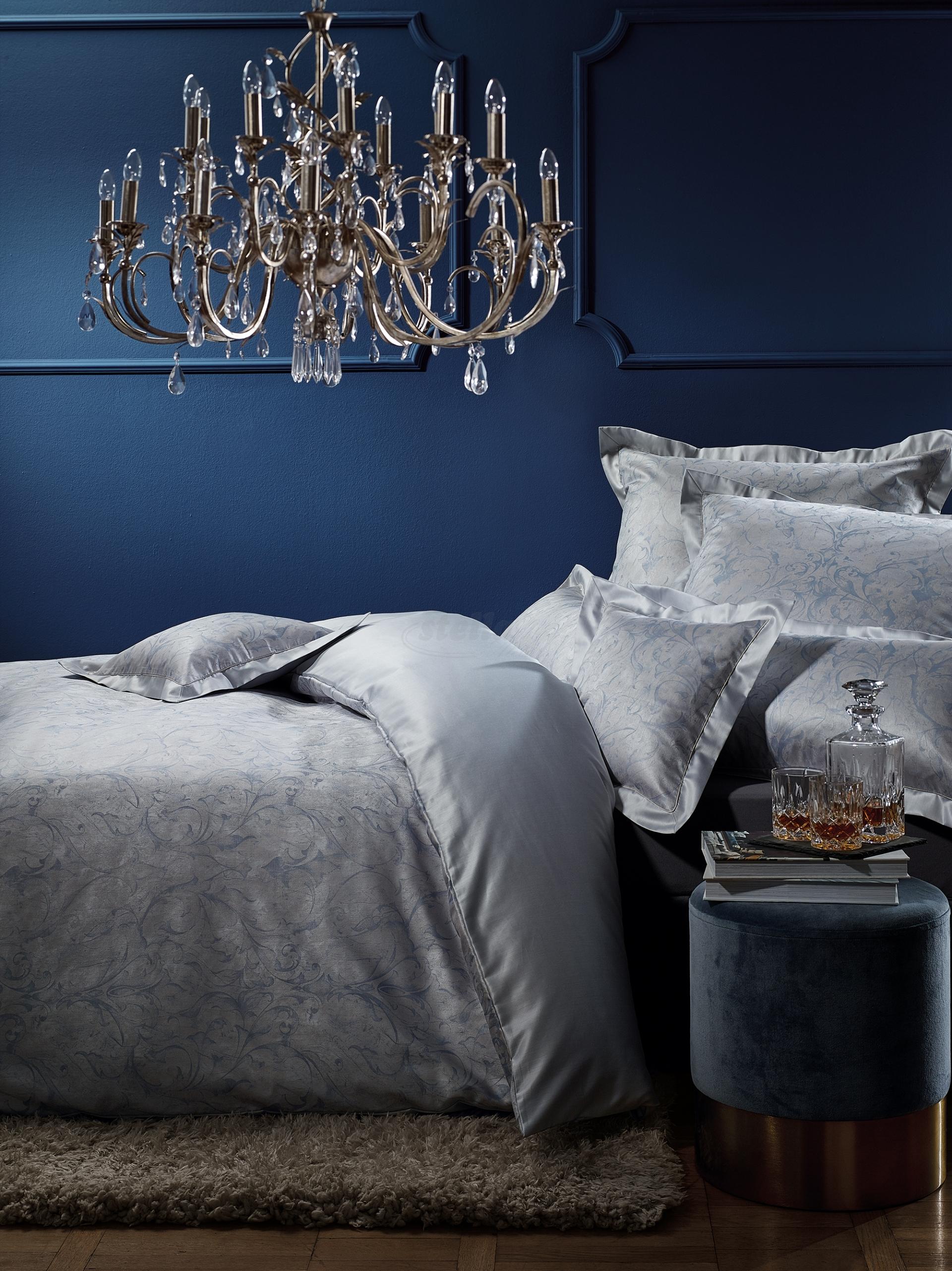 Luxusní damaškové povlečení VICTORIA - modré